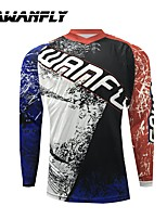 cheap -CAWANFLY Men's Long Sleeve Cycling Jersey Dirt Bike Jersey Winter Black / Red Novelty Funny Bike Tee Tshirt Jersey Compression Socks Mountain Bike MTB Road Bike Cycling Breathable Sports Clothing