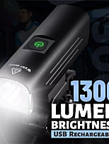 cheap -LED Bike Light Front Bike Light LED Bicycle Cycling Waterproof Super Bright Durable Rechargeable Li-Ion Battery 1300 lm USB Camping / Hiking / Caving Everyday Use Cycling / Bike / IPX 6