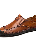 cheap -Men's Unisex Loafers & Slip-Ons Crochet Leather Shoes Casual Vintage Classic Daily Outdoor Leather Cowhide Handmade Non-slipping Shock Absorbing Light Brown Dark Brown Black Fall Winter