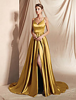 cheap -A-Line Minimalist Sexy Wedding Guest Formal Evening Dress V Neck Sleeveless Court Train Satin with Sleek Split 2021