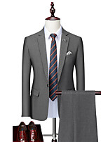 cheap -Men's Wedding Suits Notch Tailored Fit Single Breasted One-button Straight Flapped Solid Color Polyester