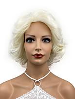cheap -Korte Golvend Golf Krullend Hittebestendige Synthetisch Haar Pruiken Voor Vrouwen Meisjes Feestavond Out Bleke Blonde