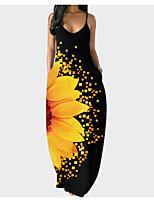 cheap -Women's Strap Dress Maxi long Dress Yellow Green Gray Sleeveless Floral Summer Casual 2021 S M L XL XXL