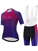 cheap -Women's Short Sleeve Cycling Jersey with Shorts Summer Spandex White Black Gradient Bike Quick Dry Breathable Sports Gradient Mountain Bike MTB Road Bike Cycling Clothing Apparel / Stretchy