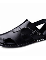 cheap -Men's Sandals Daily Nappa Leather Breathable Black Spring Summer
