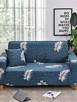cheap -Blue Leaves Print Dustproof All-powerful Slipcovers Stretch Sofa Cover Super Soft Fabric Couch Cover with One Free Boster Case(Chair/Love Seat/3 Seats/4 Seats)