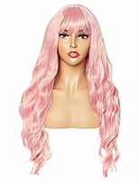cheap -long wavy pink pastel synthetic wig with bangs for women, 29 inch hair wig