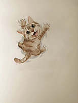 cheap -3D Cute Scratching Wall Cat Cartoon Home Children's Room Background Decoration Can Be Removed Stickers