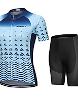 cheap -CAWANFLY Women's Short Sleeve Cycling Padded Shorts Cycling Jersey with Shorts Cycling Shorts Summer Silver+Blue Bike Shorts Quick Dry Sports Mountain Bike MTB Road Bike Cycling Clothing Apparel