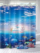cheap -Seabed Sky Digital Printing Shower Curtain Shower Curtains Hooks Modern Polyester New Design