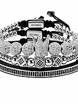 cheap -gvusmil luxury cz imperial crown braided copper bracelets with 8mm micro pave cubic zirconia beads pulseira bangle charm jewelry for men boys