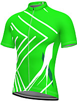 cheap -21Grams Men's Short Sleeve Cycling Jersey Summer Spandex Polyester Green Fluorescent Bike Jersey Top Mountain Bike MTB Road Bike Cycling Quick Dry Moisture Wicking Breathable Sports Clothing Apparel
