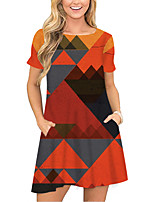 cheap -Women's T Shirt Dress Tee Dress Short Mini Dress Orange Short Sleeve Color Block Geometric Pocket Print Spring Summer Round Neck Casual 2021 S M L XL XXL 3XL
