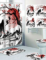 cheap -Landscape Lotus Landscape Ink Painting Printing Four-piece Shower Curtain and Hook Modern Polyester Machined Waterproof Bathroom