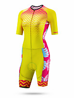 cheap -CAWANFLY Women's Short Sleeve Cycling Jersey Summer Red / Yellow Bike Quick Dry Breathable Sports Patterned Mountain Bike MTB Road Bike Cycling Clothing Apparel / Racing / Micro-elastic / Triathlon