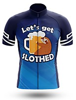 cheap -21Grams Men's Short Sleeve Cycling Jersey Summer Spandex Polyester Blue Oktoberfest Beer Sloth Bike Jersey Top Mountain Bike MTB Road Bike Cycling Quick Dry Moisture Wicking Breathable Sports