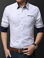cheap -Men's Shirt non-printing Color Block Long Sleeve Casual Tops Basic Casual White Blushing Pink Khaki