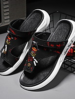 cheap -Men's Sandals Beach Daily Nappa Leather Breathable Non-slipping Wear Proof Black and White Black / Red Summer