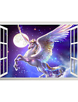 cheap -3D False Window Moon Star PegPegas Home Children's Room Background Decoration Can Be Removed Stickers