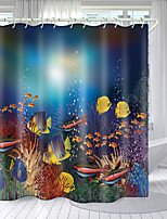 cheap -Coral Fish Digital Printing Shower Curtain Shower Curtains Hooks Modern Polyester New Design