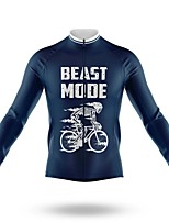 cheap -21Grams Men's Long Sleeve Cycling Jersey Spandex Polyester Dark Blue Bike Jersey Top Mountain Bike MTB Road Bike Cycling Quick Dry Moisture Wicking Breathable Sports Clothing Apparel / Athleisure