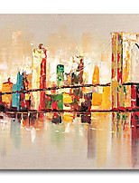 cheap -Oil Painting Handmade Hand Painted Wall Art Urban Landscape Skyline City Building River Home Decoration Dcor Stretched Frame Ready to Hang