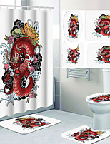 cheap -Personalized Design Dragon Pattern Printing Four-piece Shower Curtain and Hook Modern Polyester Machined Waterproof Bathroom