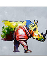 cheap -Oil Painting Handmade Hand Painted Wall Art Abstract Popular Animal Colorful Rhino Home Decoration Decor Rolled Canvas No Frame Unstretched