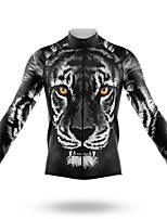 cheap -21Grams Men's Long Sleeve Cycling Jersey Spandex Polyester Black Tiger Bike Jersey Top Mountain Bike MTB Road Bike Cycling Quick Dry Moisture Wicking Breathable Sports Clothing Apparel / Athleisure