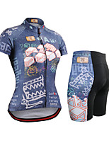 cheap -Women's Short Sleeve Cycling Jersey with Shorts Summer Spandex Blue Bike Quick Dry Breathable Sports Geometric Mountain Bike MTB Road Bike Cycling Clothing Apparel / Stretchy / Athletic / Athleisure