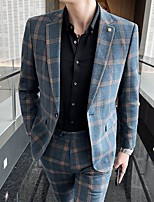 cheap -Men's Wedding Suits Notch Tailored Fit Single Breasted One-button Straight Flapped Plaid / Check Polyester