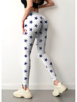 cheap -Women's Sporty Fashion Comfort Skinny Daily Yoga Leggings Pants Geometric Pattern Star Ankle-Length Sporty Elastic Waist Print White