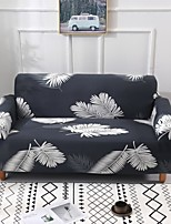 cheap -Grey Leaves Print Dustproof All-powerful Slipcovers Stretch Sofa Cover Super Soft Fabric Couch Cover with One Free Boster Case(Chair/Love Seat/3 Seats/4 Seats)