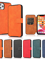 cheap -Phone Case For Apple Back Cover iPhone 12 Pro Max 11 SE 2020 X XR XS Max 8 7 6 Shockproof Dustproof Flip Tile Solid Colored PU Leather TPU