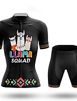 cheap -Women's Short Sleeve Cycling Jersey with Shorts Summer Spandex Black Animal Bike Quick Dry Breathable Sports Letter & Number Mountain Bike MTB Road Bike Cycling Clothing Apparel / Stretchy / Athletic