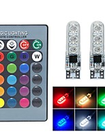 cheap -2pcs/set T10 w5w RGB LED Bulb 6SMD 5050 canbus 194 168 Car With Remote Controller Flash/Strobe Reading Wedge Light Clearance lights