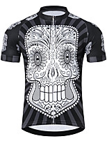 cheap -21Grams Men's Short Sleeve Cycling Jersey Summer Spandex Polyester Black+White Sugar Skull Skull Bike Jersey Top Mountain Bike MTB Road Bike Cycling Quick Dry Moisture Wicking Breathable Sports