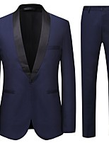 cheap -Men's Party / Evening Suits Shawl Collar Slim Fit Single Breasted One-button Solid Color Cotton