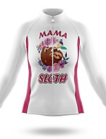 cheap -21Grams Women's Long Sleeve Cycling Jersey Summer Spandex Polyester White Animal Bike Jersey Top Mountain Bike MTB Road Bike Cycling Quick Dry Moisture Wicking Breathable Sports Clothing Apparel