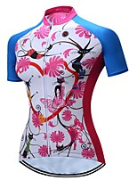 cheap -21Grams Women's Short Sleeve Cycling Jersey Summer Spandex Polyester Blue+White Floral Botanical Bike Jersey Top Mountain Bike MTB Road Bike Cycling Quick Dry Moisture Wicking Breathable Sports