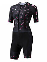cheap -CAWANFLY Women's Short Sleeve Cycling Jersey Summer Black Heart Bike Quick Dry Breathable Sports Heart Mountain Bike MTB Road Bike Cycling Clothing Apparel / Racing / Micro-elastic / Triathlon