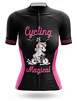 cheap -21Grams Women's Short Sleeve Cycling Jersey Summer Spandex Polyester Black Unicorn Bike Jersey Top Mountain Bike MTB Road Bike Cycling Quick Dry Moisture Wicking Breathable Sports Clothing Apparel