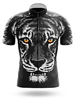 cheap -21Grams Men's Short Sleeve Cycling Jersey Summer Spandex Polyester Black Tiger Bike Jersey Top Mountain Bike MTB Road Bike Cycling Quick Dry Moisture Wicking Breathable Sports Clothing Apparel