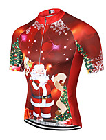 cheap -21Grams Men's Short Sleeve Cycling Jersey Summer Spandex Polyester Red Santa Claus Bike Jersey Top Mountain Bike MTB Road Bike Cycling Quick Dry Moisture Wicking Breathable Sports Clothing Apparel