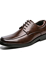 cheap -Men's Oxfords Casual Classic Daily PU Breathable Non-slipping Wear Proof Black Brown Spring Summer / Square Toe