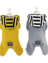 cheap -Dog Cat Sweater Dog clothes Stripes Solid Colored Adorable Cute Dailywear Casual / Daily Winter Dog Clothes Puppy Clothes Dog Outfits Warm Yellow Gray Costume for Girl and Boy Dog Padded Fabric S M L