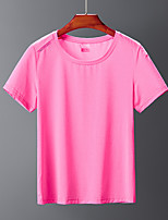 cheap -Women's Men's T shirt Hiking Tee shirt Short Sleeve Tee Tshirt Top Outdoor Quick Dry Lightweight Breathable Sweat wicking Autumn / Fall Spring Summer Female rose red Female pink Male Royal Blue