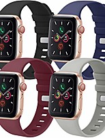 cheap -Smartwatch band  4 pack compatible with iwatch bands 38mm 42mm 40mm 44mm, soft sport replacement band compatible with iwatch series 6 5 4 3 se (black/gray/navy blue/wine red, 42mm/44mm m/l)