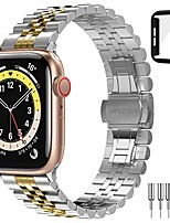 cheap -smartwatch band stainless steel metal with double folding clasp for iwatch 6/5/4 / se 44mm-silver & golden