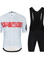cheap -CAWANFLY Men's Short Sleeve Cycling Jersey with Tights Cycling Pants Cycling Bib Tights Summer Spandex Black+White Bike Sports Geometic Mountain Bike MTB Road Bike Cycling Clothing Apparel